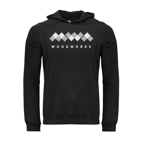 light MWA logo design on black unisex Hoodie with Kangaroo Pocket