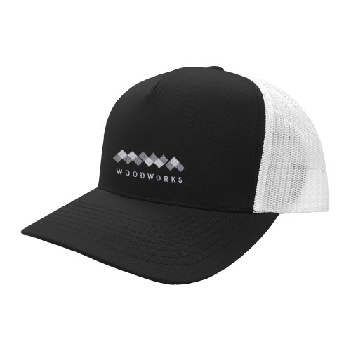 Light MWA Woodworks Logo embroidered on the black and white five panel adjustable trucker hat.