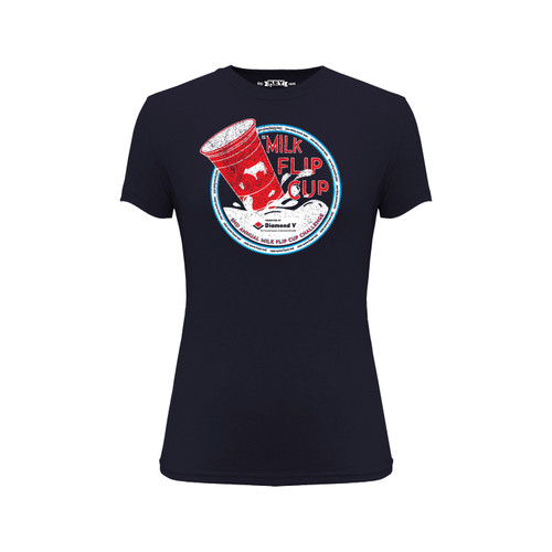 Front of navy, crew neck, short sleeve t-shirt with red and white #Milk flip cup 2021 design