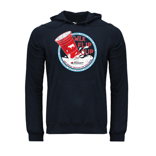 Red and white #Milk Flip Cup 2021 design on navy unisex Hoodie with Kangaroo Pocket