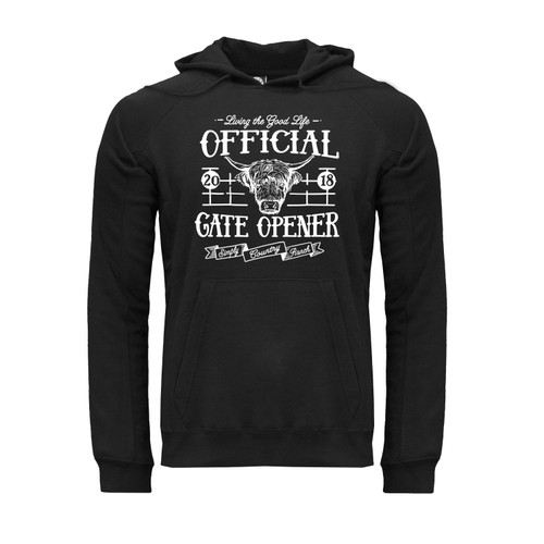 front of black unisex, cotton hoodie with kangaroo pocket and Official Gate Opener design in white.