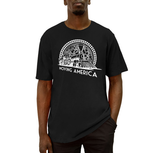 Men's black crew neck short sleeve Moving America Vintage Train Tee