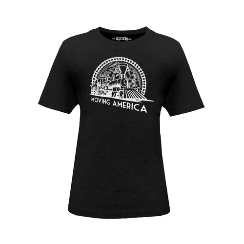 front of Kid's Moving America Vintage Train crew neck short sleeve black tee shirt