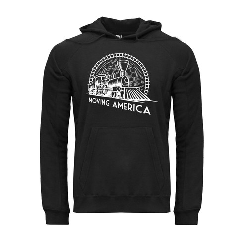 Front of Moving America Vintage Train unisex ultra-soft black hoodie