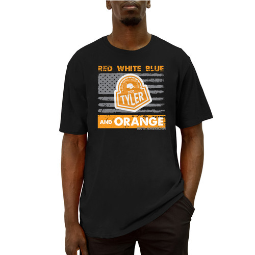 Front of short-sleeve, black, crew neck tee with design. Design is gray American Flag with Orange DIY Tyler logo on top.