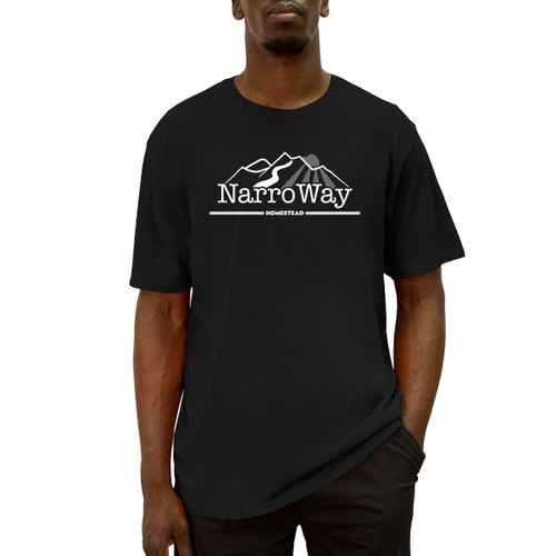 Front of black short sleeve liberty t-shirt with white NarroWay logo across the chest.
