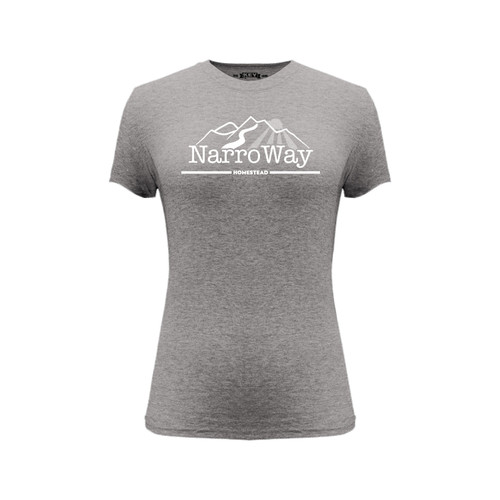 Front of gray short sleeve women's fit liberty tee with white NarroWay Homestead logo.