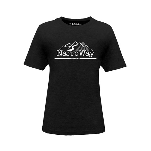 Front of Kid's NarroWay Homestead Logo crew neck short sleeve black tee shirt