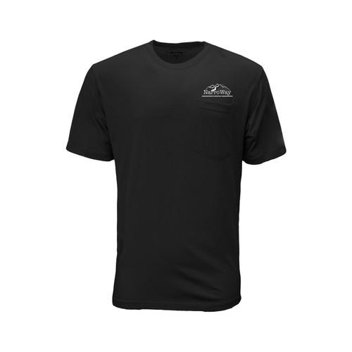 Front of black blended short sleeve Pocket t-shirt with white NarroWay logo over the pocket.