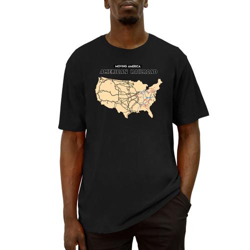Men's black crew neck short sleeve Moving America American Railroads Tee
