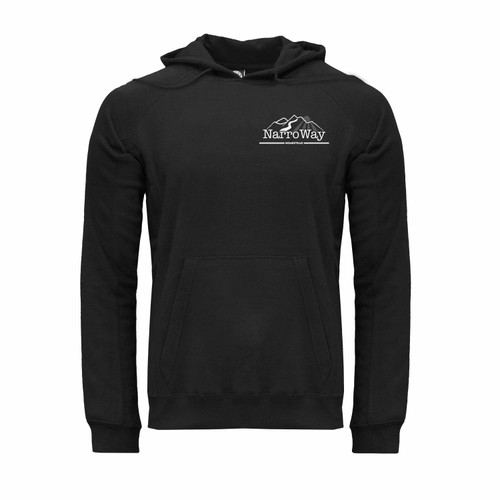 Front of NarroWay Homestead hoodie with kangaroo pocket and white NarroWay logo on left chest