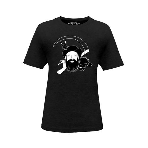Front of Kid's NarroWay Portrait crew neck short sleeve black tee shirt. Design is bearded man with three farm animals around him.