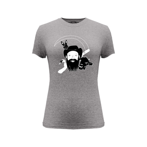 Front of gray short sleeve women's fit liberty tee with white NarroWay portrait design.
