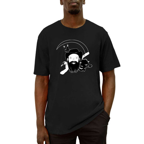 Front of black short sleeve liberty t-shirt with white NarroWay portrait design across the chest.