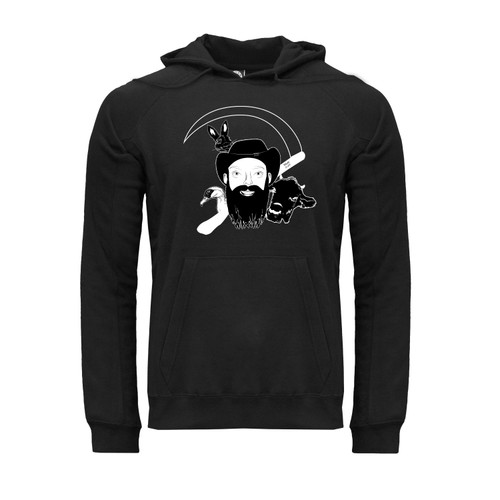 Front of NarroWay Homestead hoodie with kangaroo pocket and white NarroWay portrait on left chest