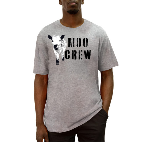 Front of gray  short sleeve liberty t-shirt with MiniCowGirl Moo Crew design across the chest.