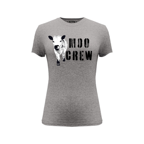 Front of gray short sleeve women's fit liberty tee with Moo Crew design.