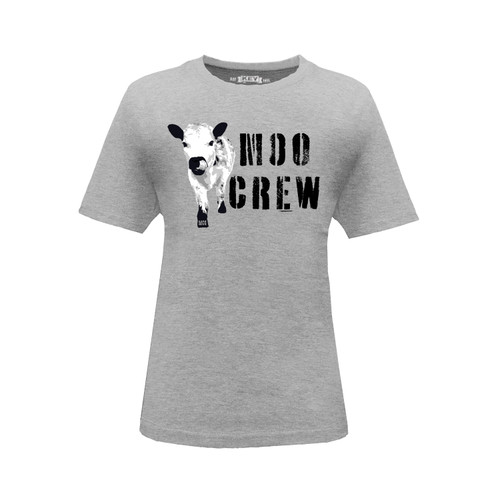 Front of Kid's Moo Crew crew neck short sleeve black tee shirt.