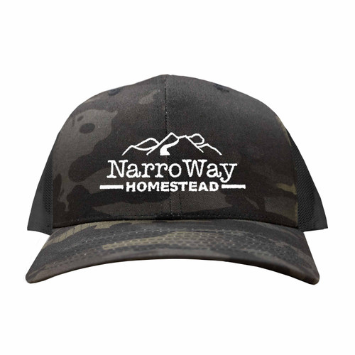 Front of Six Panel, dark Camouflage, Trucker hat Embroidered with Narrow Way Homestead Logo