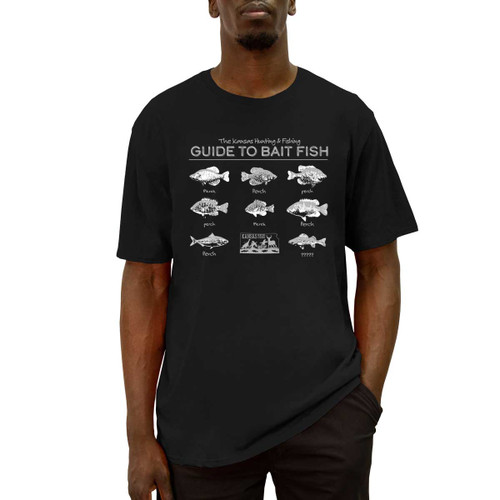 """Front of short sleeve black Fishing Guide Tee with white design. Design has 7 fish labeled """"perch,"""" and one fish labeled """"???"""""""
