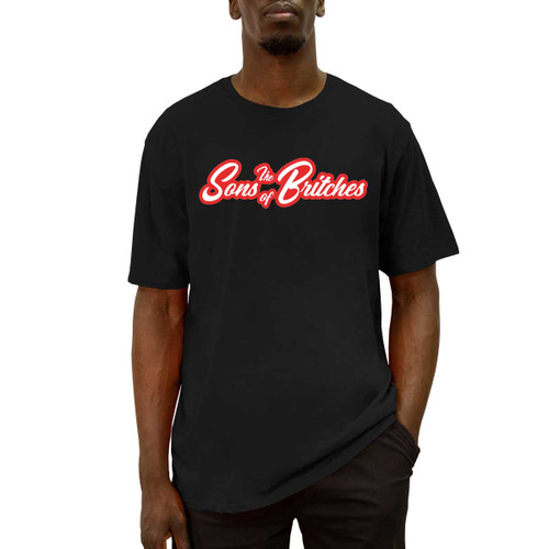 Front of black crew neck short sleeve tee with Sons of Britches logo in red and white on the chest.
