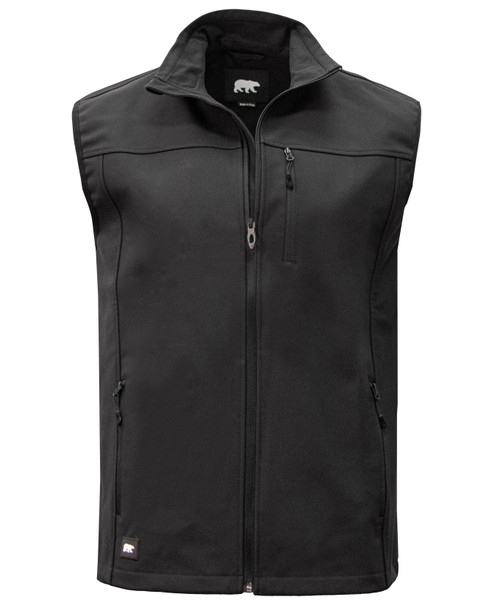 Soft Shell Vest Polyester Spandex Napoleon Pocket Reverse Coil Zippers Water Resistant