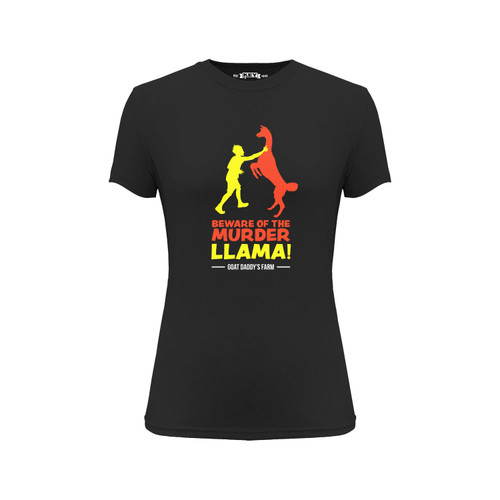 Front of a black short sleeve crew neck Tee with red and yellow design on the front.