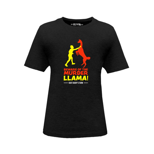 Front of kids' black short sleeve crew neck t-shirt with red and yellow design on the front