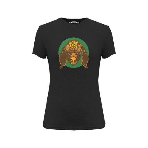 Front of a black short sleeve crew neck Tee with green, brown, and yellow goat design on the front.