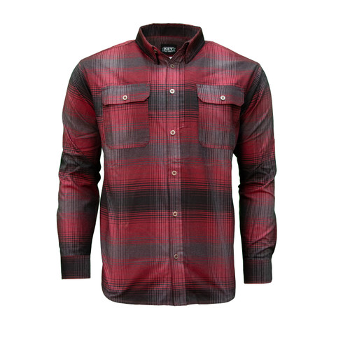 Freedom Plaid Polyester Spandex Long Sleeve Collar Chest Pockets Roll Tab Sleeves