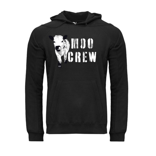 Front of a black hoodie with Black and White Cow and Moo Crew design on the chest.