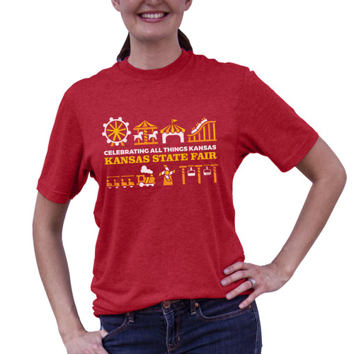 Front of Midway Rides tee with gold and white design featuring ferris wheel, roller coaster, and more.