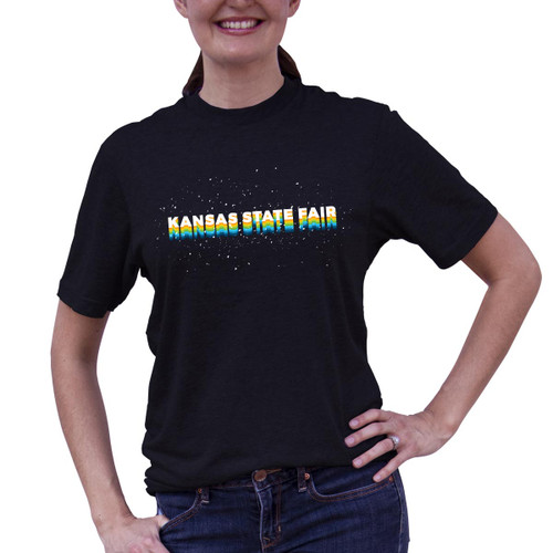 """Front of Stars Tee with multi color design that reads """"Kansas State Fair."""""""