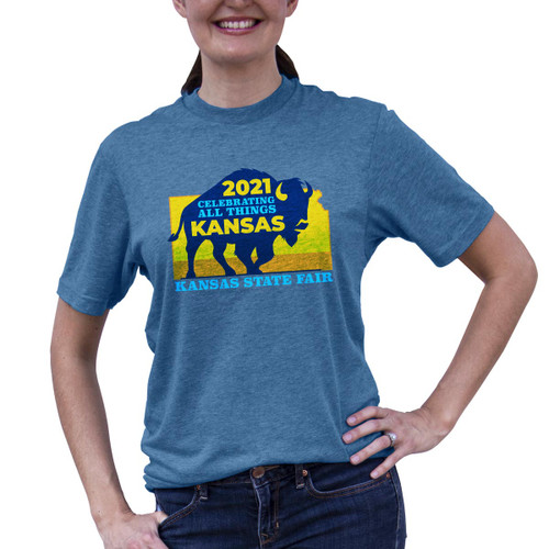 Front of Buffalo 2021 tee with silhouette of buffalo over the state of Kansas.