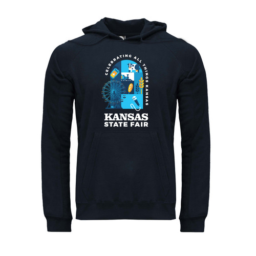 Front of navy blue hoodie with kangaroo pocket and Kansas State Fair Stained Glass design.