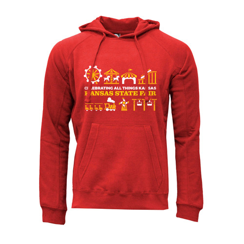 Front of Red hoodie with kangaroo pocket and Kansas State Fair Midway Rides design.