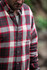 Marble Road Flannel Shirt Yarn Dryed Cotton Banded Collar Button Down Hemmed Adjustable Cuff Left Front Pocket Metallic Front Closure