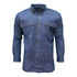 Long Sleeve Denim Shirt Washed Relaxed Fit Pocket Flaps Pencil Slot Button Sunglass Loop