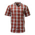 Short Sleeve Button Down Plaid Shirt KEY Cotton Collar Pocket