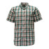 Short Sleeve Button Down Plaid Shirt KEY Cotton Collar Pocket