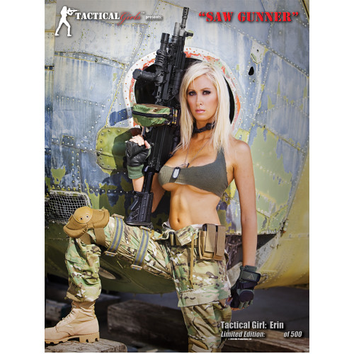 Erin Signed M249 SAW Tactical Girl Poster