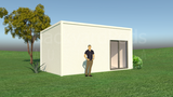 ALBURY prefab studio with ensuite and kitchenette 3.4m x 6m from Backyard Pods Australia - FRONT ANGLE