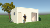 AIRLIE prefab studio + facilities 3m x 6m from Backyard Pods Australia - FRONT LEFT ANGLE