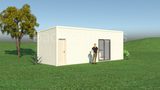 BYRON prefab studio with kitchenette, separate powder room 3m x 9m from Backyard Pods Australia - FRONT ANGLE