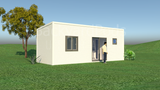CAMDEN prefab granny flat with bedrooms + living + kitchenette + shower/laundry room 3m x 8m from Backyard Pods Australia - FRONT ANGLE