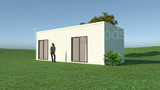 CALOUNDRA prefab studio 2 rooms with one semi-divided 3m x 9m from Backyard Pods Australia - FRONT ANGLE