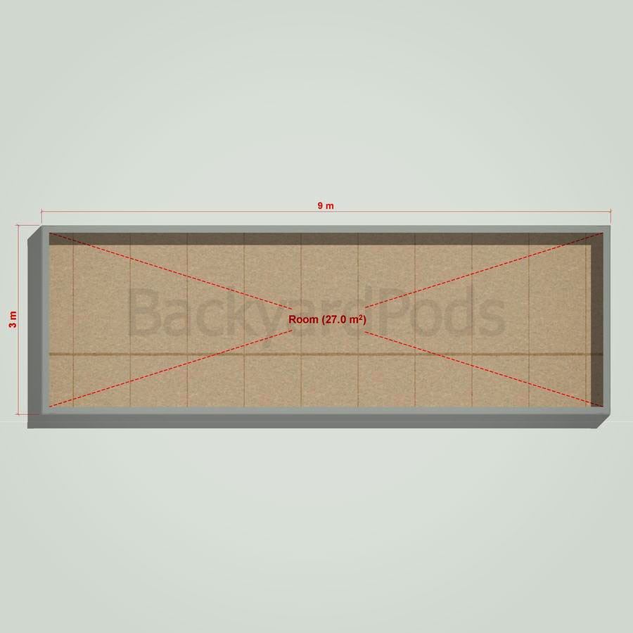 Basic backyard pod kit 3m x 9m flat-pack