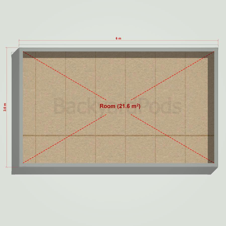 Basic backyard pod kit 3.6m x 6m flat-pack