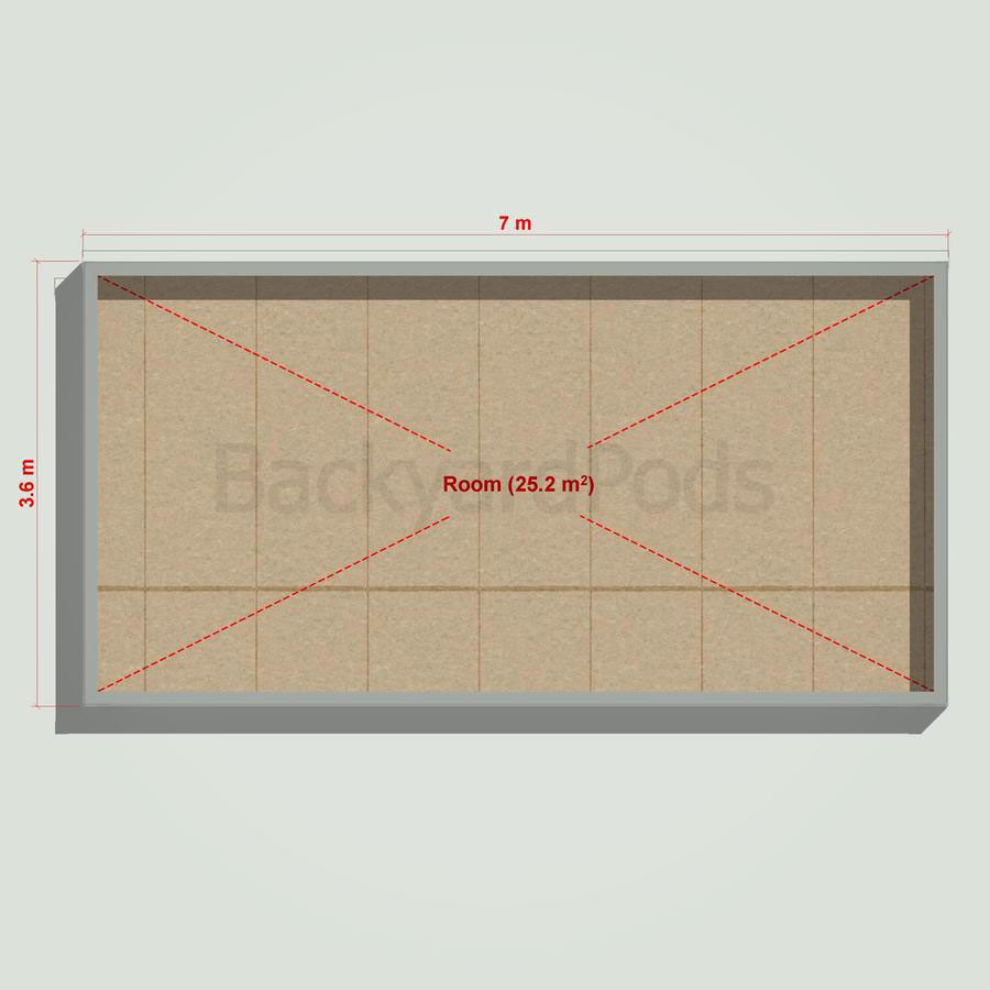 Basic backyard pod kit 3.6m x 7m flat-pack