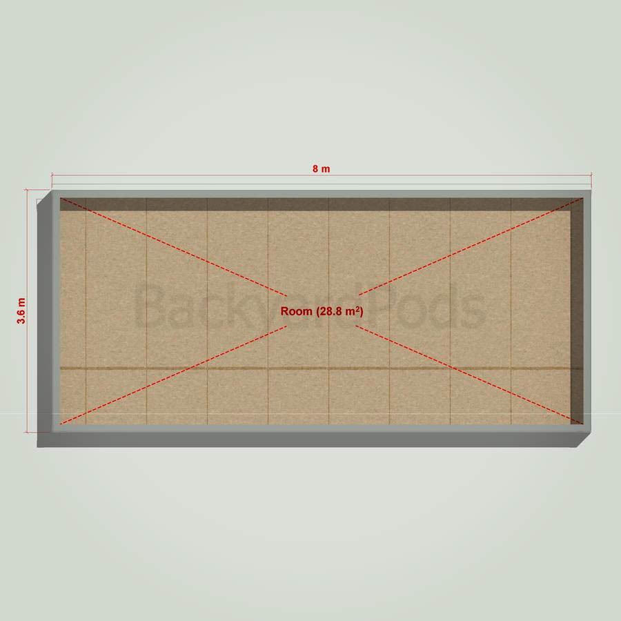 Basic backyard pod kit 3.6m x 8m flat-pack
